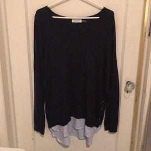 Calvin Klein layered sweater with shirt